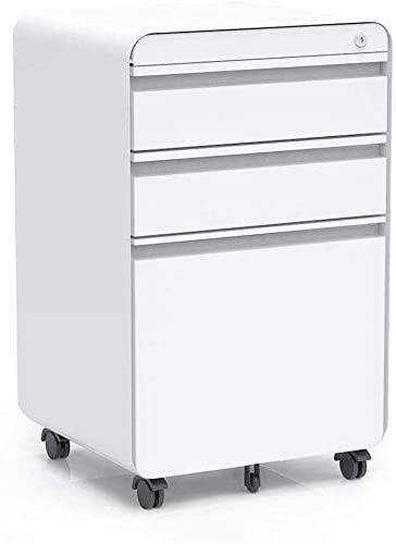 3-Drawer Filling Cabinet, Metal Vertical File Cabinet with Hanging File Frame for Legal Letter File Install-Free Anti-tilt Design and Lockable System Office Rolling File Cabinet White