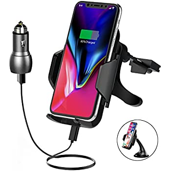 cheap Wireless Car Charger, Air Vent Phone Holder One-Hand Operation Gravity Car Mount Qi Wireless Car Charger Fast Charging for iPhone X, 8/8Plus, Samsung Galaxy S8+/S9/Note 8 & Qi-Enabled Devices