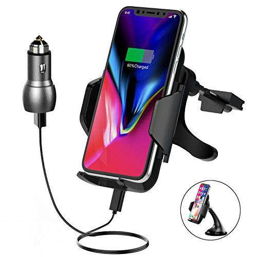 Wireless Car Charger Anroog Qi Fast 10W Charger Car Mount with Air Vent Phone Holder Suction Mount for Samsung Galaxy S9/S8/S7 Edge/S6 Edge+,7.5W for iPhone 8/8Plus, iPhone X, Qi-Enabled Devic