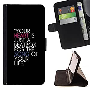 DEVIL CASE - FOR Sony Xperia Z1 Compact D5503 - Heart Beatbox Quote Music Life Song Love - Style PU Leather Case Wallet Flip Stand Flap Closure Cover