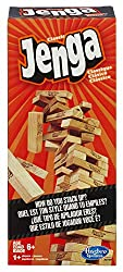 It's the classic block stacking, stack crashing game of Jenga. How will you stack up against the law of gravity? Stack the wooden blocks in a sturdy tower, then take turns pulling out blocks one by one until the whole stack crashes down. Is your hand...