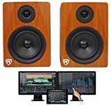 Package: Presonus Studio One 3.2 Professional Audio MIDI Recording DAW Full Software With iPad Integration + Powered USB Studio Monitor Speakers in Classic Wood Finish + TS Cable