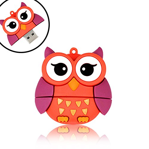 QICAIHU Novelty Big Eyes Owl Shape Design 32GB USB 2.0 Animal Flash Drive Cute Memory Stick Thumb Drive Data Storage Pendrive Cartoon Jump Drive -