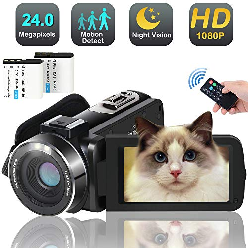 Video Camera Camcorder,Full HD 1080p 30FPS 24MP Digital YouTube Vlog Camera Video with IR Night Vision Pause Time Lapse Function 2 Batteries Free HDMI Cable Support External Microphone (Best Digital Camcorder 2019)