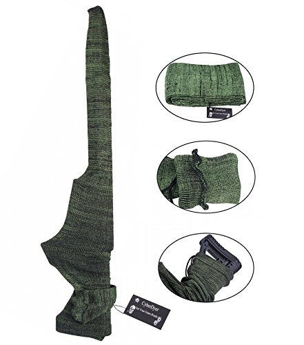 CyberDyer Polyester Silicone Treated Knit Long Gun Sack Rifle Protector Shotgun Cover Case Storage Sleeve (Green)