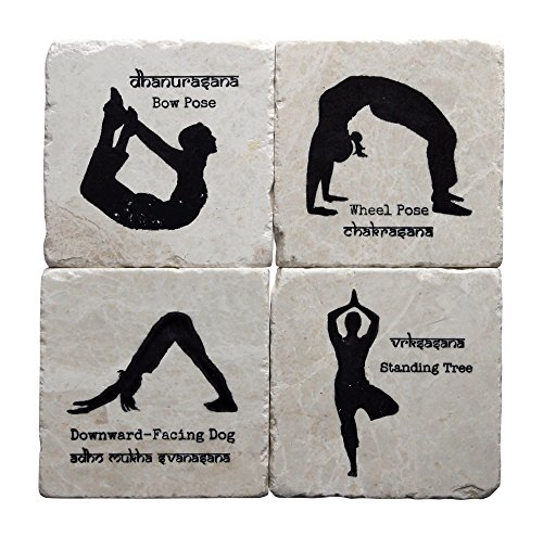 YogaCoaster Unique Handcrafted Coaster Set – Four Drinking Coasters the Perfect Gift for Yoga Fans. Protect Your Furniture from Water Damage and Scratch