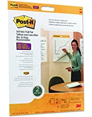 Post-it Super Sticky Wall Easel Pad, 20 x 23 Inches, 20 Sheets/Pad, 2 Pads (566), Portable White Premium Self Stick Flip Chart Paper, Rolls for Portability, Hangs with Command Strips