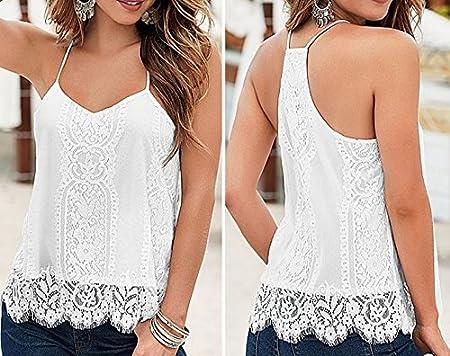 Blusa blanca de encaje de ganchillo, espalda cruzada, tirantes finos, para mujer, de la marca COFCO: Amazon.es: Jardín