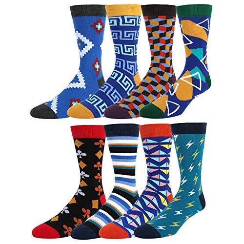 Men's Dress Socks Fun Colorful Argyle Geometric Assorted Colors Funky Socks 8 Value Pack with Gift Box