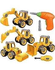 Yojoloin graafmachine speelgoed zand speelgoed zandpit speelgoed voor kinderen jongens meisjes, speelgoed van 3 4 5 6 7 8 jaar, 4 in 1 DIY tractor truck speelgoed auto met schroevendraaier