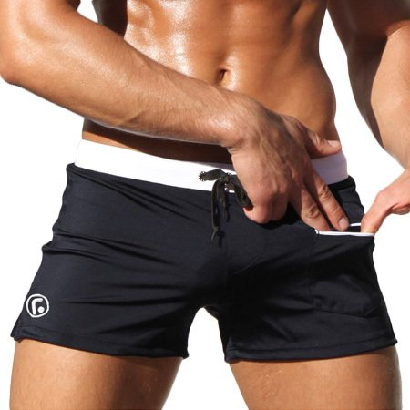 ZQ@QXPoche taille basse men's Spa confortable Boxer trunks ,L,Black