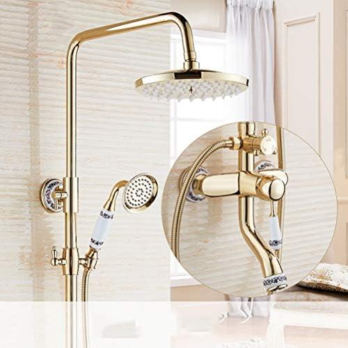 浴室のシャワーセット、2つのハンドルの浴槽の蛇口、手のシャワーの金の終わりの回転口の浴槽のシャワーの蛇口が付いている壁取付け、ホテル、浴室のために適した,金
