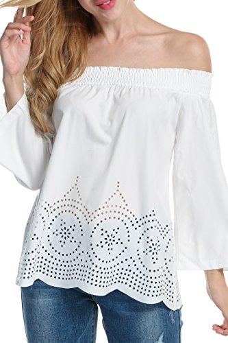 HOTOUCH Mujeres Atractivo Camisa de Cuello Halter Casual Fuera del Hombro de Manga 3/4 Túnica Blusa Floja Elegante Camiseta S-XL Blanco