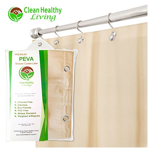 Premium PEVA Shower Liner / Curtain: Odorless & Mildew Resistant (with Magnets & Suction Cups). Eco Friendly 70 x 71 in. long - Taupe Color (Shower Curtain Liners Colored)