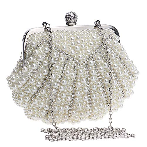 Shell Size Evening Bag Evening Clutch Bag Gold Bag Ladies Color XS Pearl Beaded Dinner Banquet white Creamy OzTRUqT0w