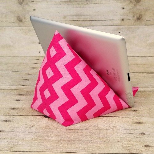 iPad-Tablet-Kindle-Stand-Holder-in-Pink-Chevron-Fabric