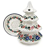 "Polish Pottery Handmade 8"" Christmas Tree Luminary Star Cutouts Traditional Stoneware Pattern 602-2880"