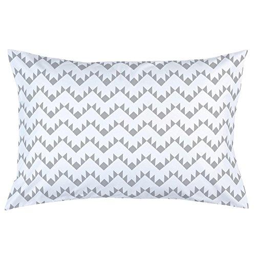 Carousel Designs Silver Gray Aztec Zig Zag Pillow Case - Organic 100% Cotton Pillow Case - Made in The USA