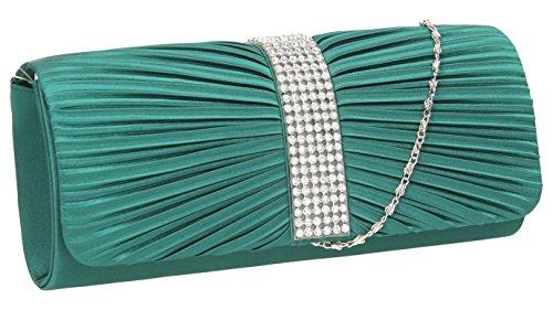 SwankySwansJane Satin Diamante - Sacchetto donna (verde)