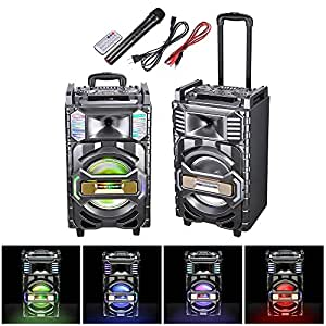 "AW 10"" Portable Trolley Speaker Bluetooth Colorful Lights with Wireless Microphone Remote Control FM SD USB Port"