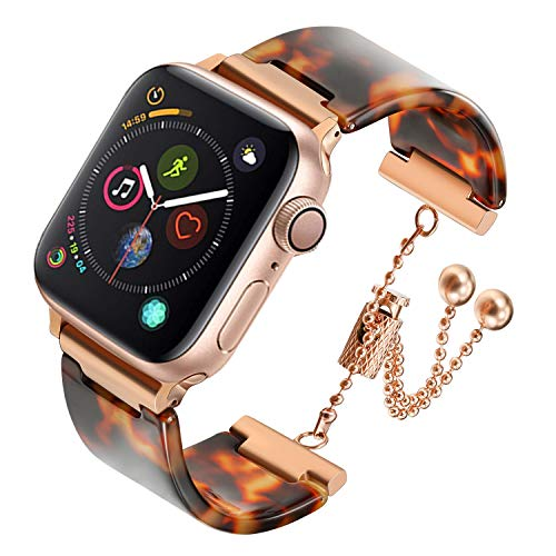 (iWonow Resin Band Compatible for iWatch Band 38/40mm Bracelet Stainless Steel Buckle Replacement Strap for iWatch Series 4/3/2/1 Women Men Tortoise-Tone)