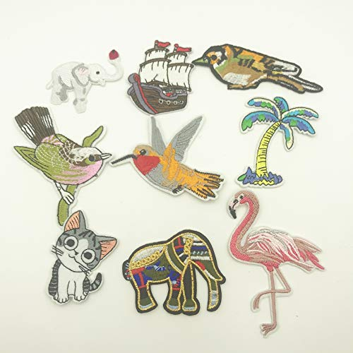 8pcs Iron On Cat Bird Patch Embroidered Stickers for Clothing Sewing Applique Sew On Fabric Badge Apparel Accessories Embroider Patch