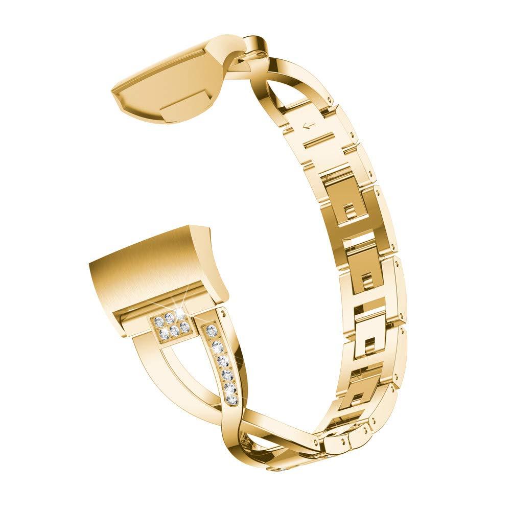 Bracelet pour Fitbit Charge 3, YUYOUG X-Link Bracelets Métalliques Sangles Réglables Cristal Sangle Sports de Mode pour Fitbit Charge 3