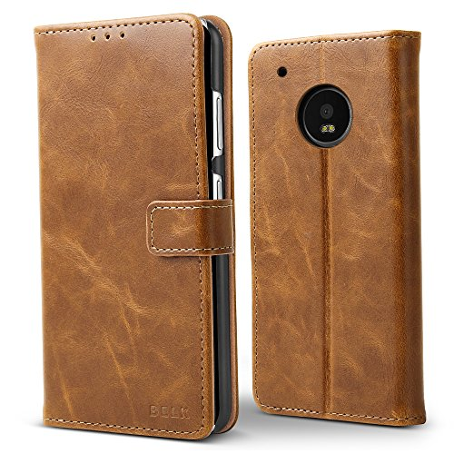Moto X4 2017 Case,Moto X 4th Gen Case, BELK Premium Retro PU Leather Classic Magnetic Flip Wallet Case with [Hard PC Back] [Kickstand] [Card Slots] for Motorola Moto X 4th Generation 2017, Buff