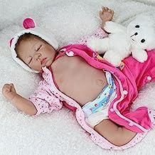 Nicery Reborn Baby Doll Soft Simulation Silicone Vinyl 22inch 55cm Magnetic Mouth Lifelike Boy Girl Toy Pink Sleeping Bear Eyes Close