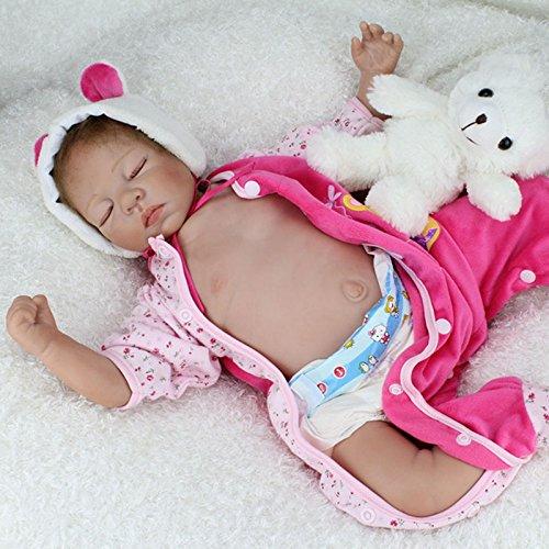 Nicery 22inch Renacido de la muñeca de silicona suave vinilo 55cm magnética Boca realista muchacha del muchacho de juguete de color rosa dormir Ojos Cierre del oso Reborn Doll A3ES