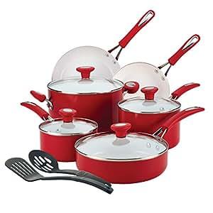 SilverStone Ceramic Nonstick Aluminum Cookware Set, 12-Piece, Chili Red, CXi Collection