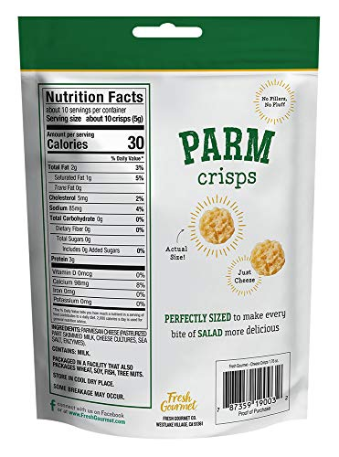Fresh Gourmet Cheese Crisps, Parmesan, Great for Snacking and Salad Topper, 1.76 Ounce