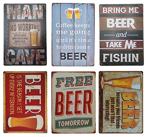 Beer Tin Sign Retro Decoration for Home Bar 6pcs]()