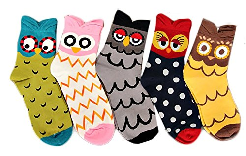 V28 Women's Cute Owl Various Pattern Mixed Color Soft Socks (One Size, 5 Mixed Colors Set) -