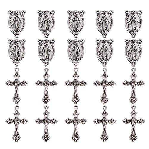 PandaHall Elite 10 Sets Tibetan Style Rosary Cross and Center Miraculous Medal with Alloy Crucifix Cross Pendants and Oval Chandelier Links for Rosary Holy Beads Necklace Making Antique Silver -