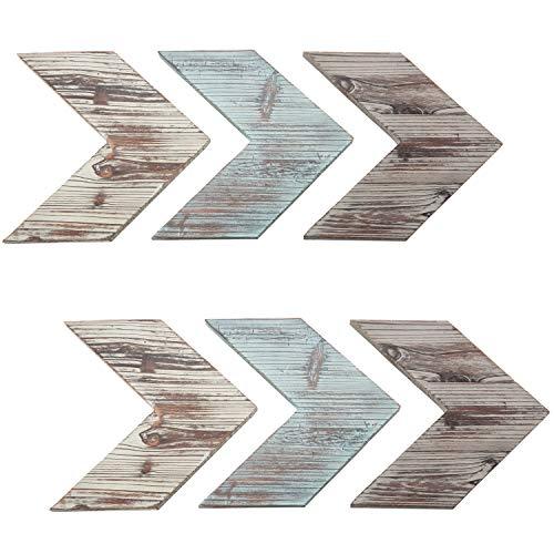 MyGift Rustic Wall-Mounted Wood Chevrons, Arrow Wall Decor, 6-Piece Set ()
