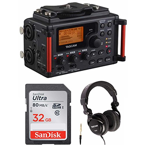 Tascam DR-60DmkII DSLR Audio Recorder with 32GB SD Card and Studio Headphones (Best Dslr Audio Recorder)
