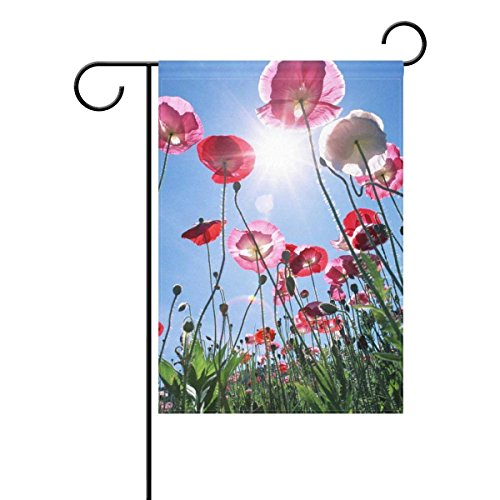 Home Poppy Sunlight Polyester Fabric Garden Flags Lovely And