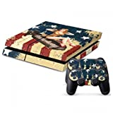 MightyStickers Protective Vinyl Skin Decal Cover for Sony PlayStation 4 PS4 Console & Remote DualShock 4 Controller Sticker Skins - Red Shoes and Short Dresses Miss America Sexy Bomb