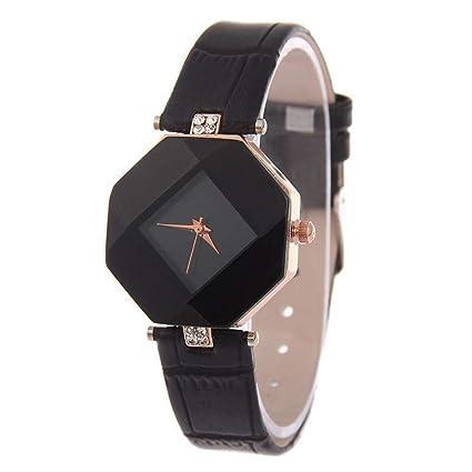 JDHCBGBG Relojes De Las Mujeres Gema Geometría De Corte Cristal Cuero Cuarzo Reloj De Pulsera Moda
