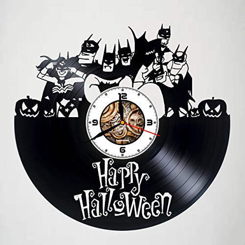 Happy Halloween Night - Justice League - Handmade Vinyl Wall Clock - Original gift for any occasion - unique birthday, wedding, anniversary, Valentine's day gifts - Wall décor Ideas for -