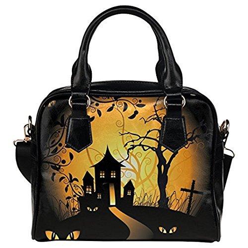 InterestPrint Halloween Women's PU Leather Aslant Shoulder Tote Handbag Bag -