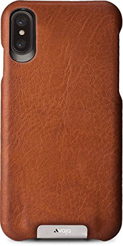 Vaja Grip Leather Case for iPhone X - Hard Polycarbonate Frame, Wireless Charging Compatible - Saddle Tan