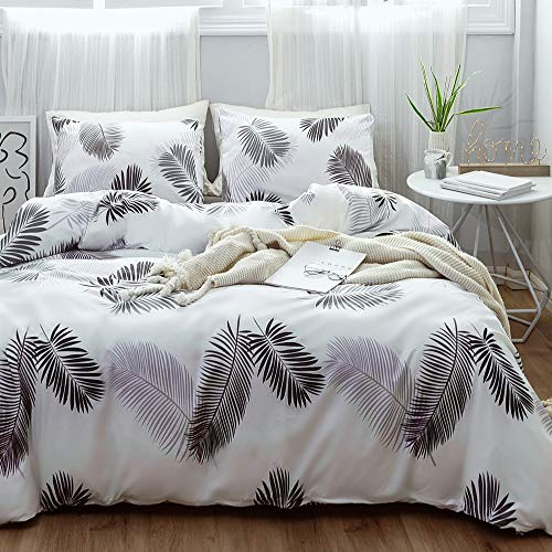Janzaa 3 PCs Leaves Duvet Cover Set, Microfiber Soft Botanical Floral Tree Leaves Pattern Printed White Bedding Set with Zipper Closure(Leaves,Queen)