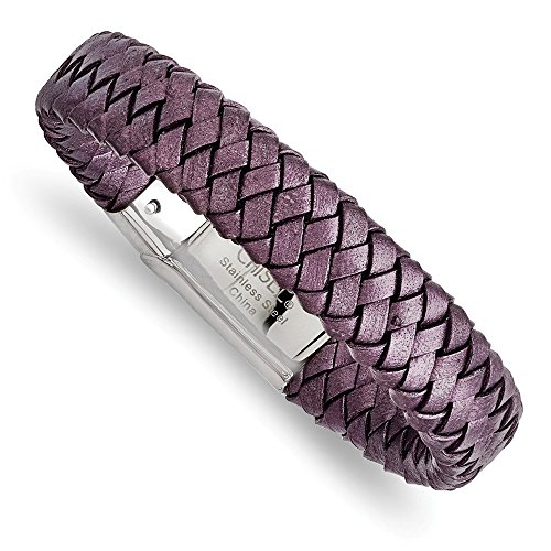Stainless Steel Rubber Leather Bracelets (Stainless Steel Jewelry Cord, Leather & Rubber Bracelets Purple 16 mm 7.5 in Polished Metallic Purple Woven Leather Bracelet)
