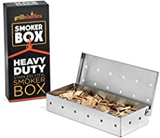 Grillaholics Smoker Box, #1 Meat Smokers Box in Barbecue Grilling Accessories, Add Smokey BBQ Flavor on Gas Grill or Charcoal Grills with This Stainless Steel Wood Chip Smoker Box