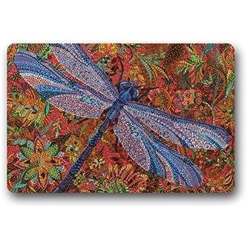 Amazon Com Trippy Dragonfly Art Painting Doormats Floor