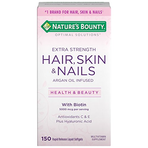 Nature's Bounty Optimal Solutions Hair Skin & Nails Extra Strength, 150 Softgels, Multivitamin Supplement, with Antioxidants C & E (Normal Skin Vitamins)