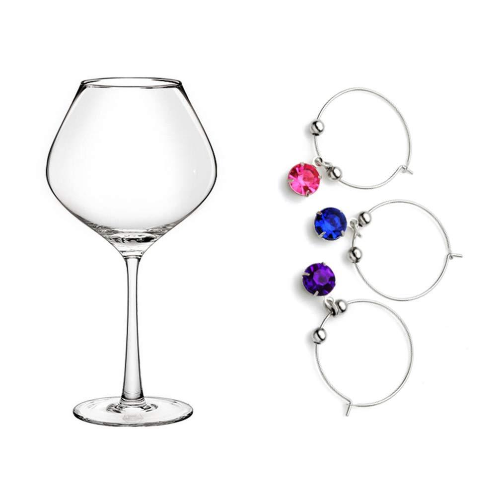 UPKOCH 8 Pezzi di Fascino per Vetro Marcatori per Bevande a Forma di Diamante Incanto di Vetro per Vino Anelli per Bicchieri di Vino Tag per Calice Cocktail Martini Colore Misto
