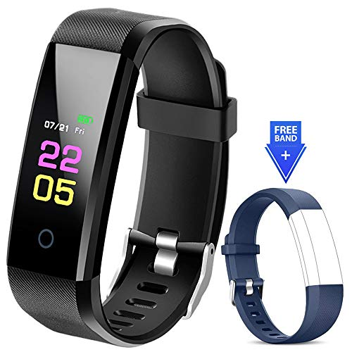 Fitness Tracker Waterproof - Fitness Watch with Heart Rate Blood Pressure Monitor, Activity Tracker with Sleep Monitor, Calorie Step Counter Smart Watch for Women Men Kids Compatible iPhone Android (Best Activity Tracker For Sleep)
